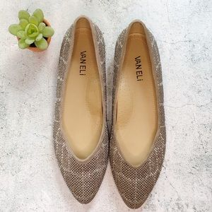 Van Eli Studded Suede Taupe Pointed Flat Size 8